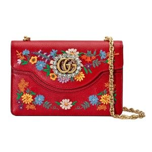 New Gucci Small Linea Ricami Floral Embroidered